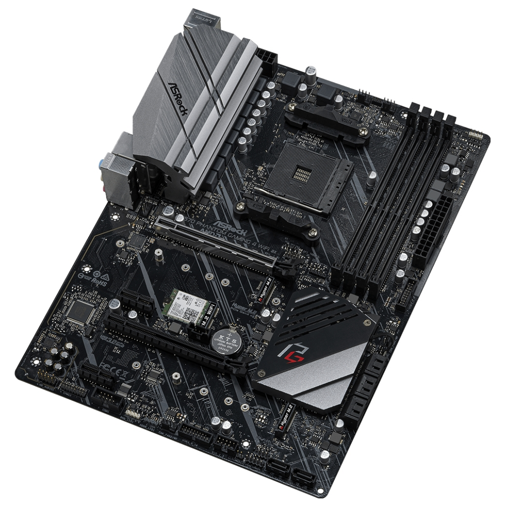 A large main feature product image of ASRock X570 Phantom Gaming 4 WiFi AX AM4 ATX Desktop Motherboard