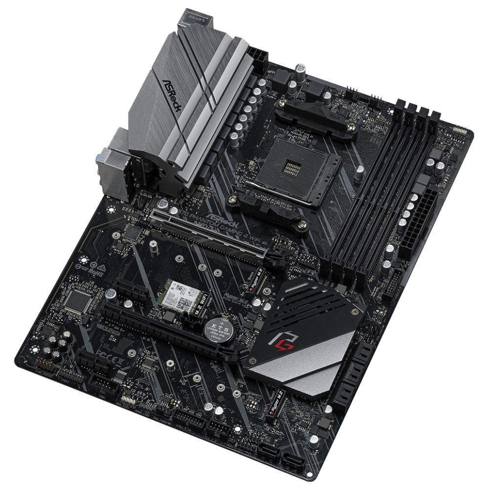 A large main feature product image of ASRock X570 Phantom Gaming WiFi AX AM4 ATX Desktop Motherboard