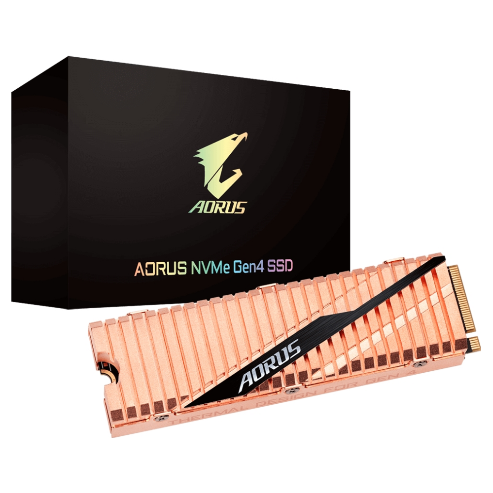 A large main feature product image of Gigabyte AORUS 1TB Gen 4 M.2 NVMe SSD