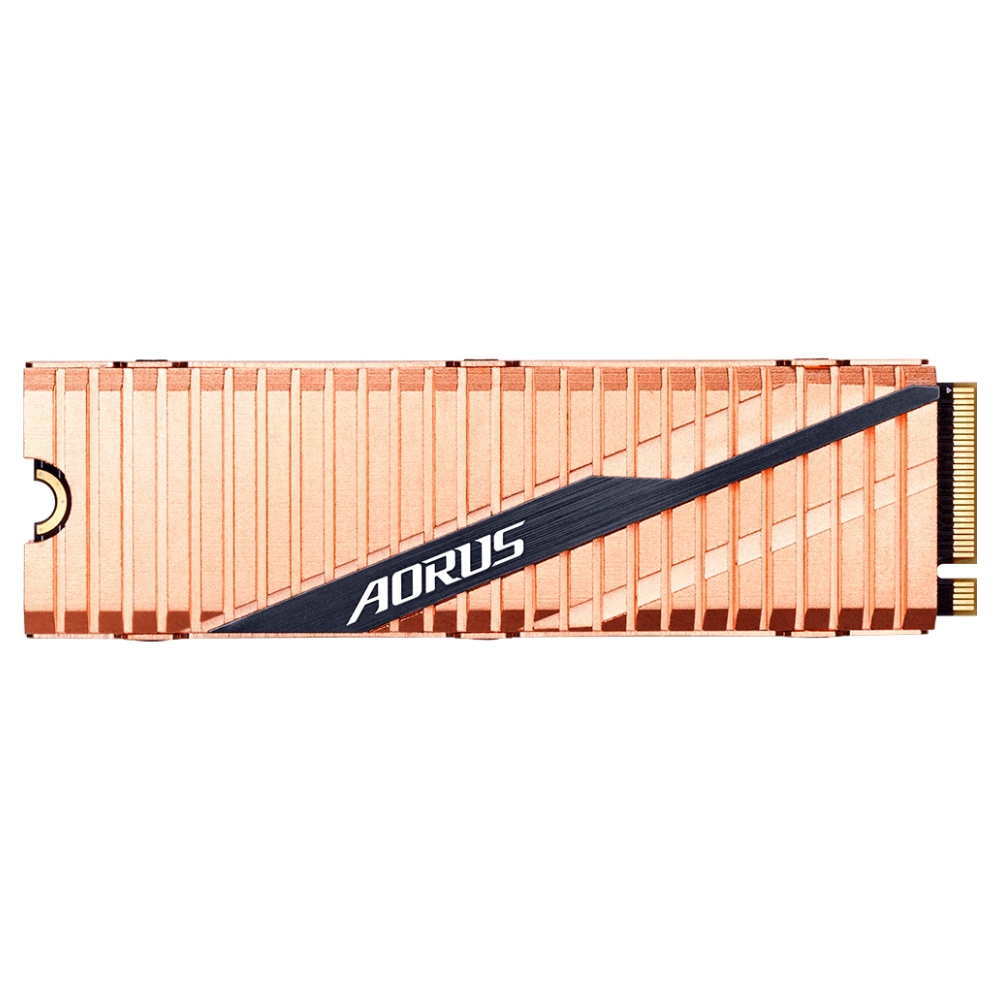 A large main feature product image of Gigabyte AORUS 2TB Gen 4 M.2 NVMe SSD