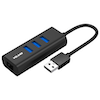 A product image of Volans Aluminium 3 Port USB3.0 Hub + RJ45 Gigabit Ethernet Adapter