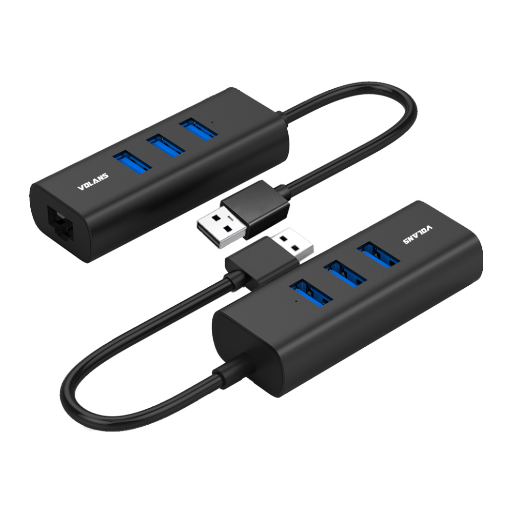 A large main feature product image of Volans Aluminium 3 Port USB3.0 Hub + RJ45 Gigabit Ethernet Adapter