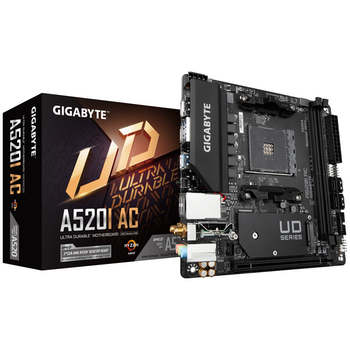 Product image of Gigabyte A520I AC AM4 mITX Desktop Motherboard - Click for product page of Gigabyte A520I AC AM4 mITX Desktop Motherboard