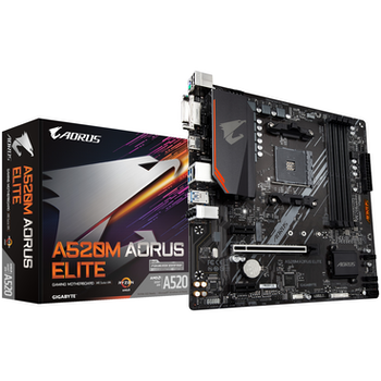 Product image of Gigabyte A520M Aorus Elite AM4 mATX Desktop Motherboard - Click for product page of Gigabyte A520M Aorus Elite AM4 mATX Desktop Motherboard