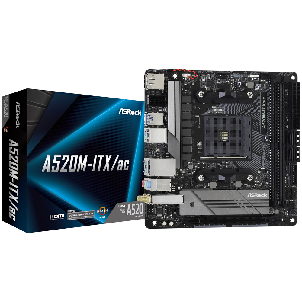 A large main feature product image of ASRock A520M-ITX AC AM4 mITX Desktop Motherboard
