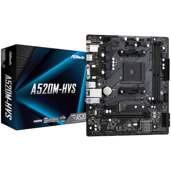Product image of ASRock A520M HVS AM4 mATX Desktop Motherboard - Click for product page of ASRock A520M HVS AM4 mATX Desktop Motherboard