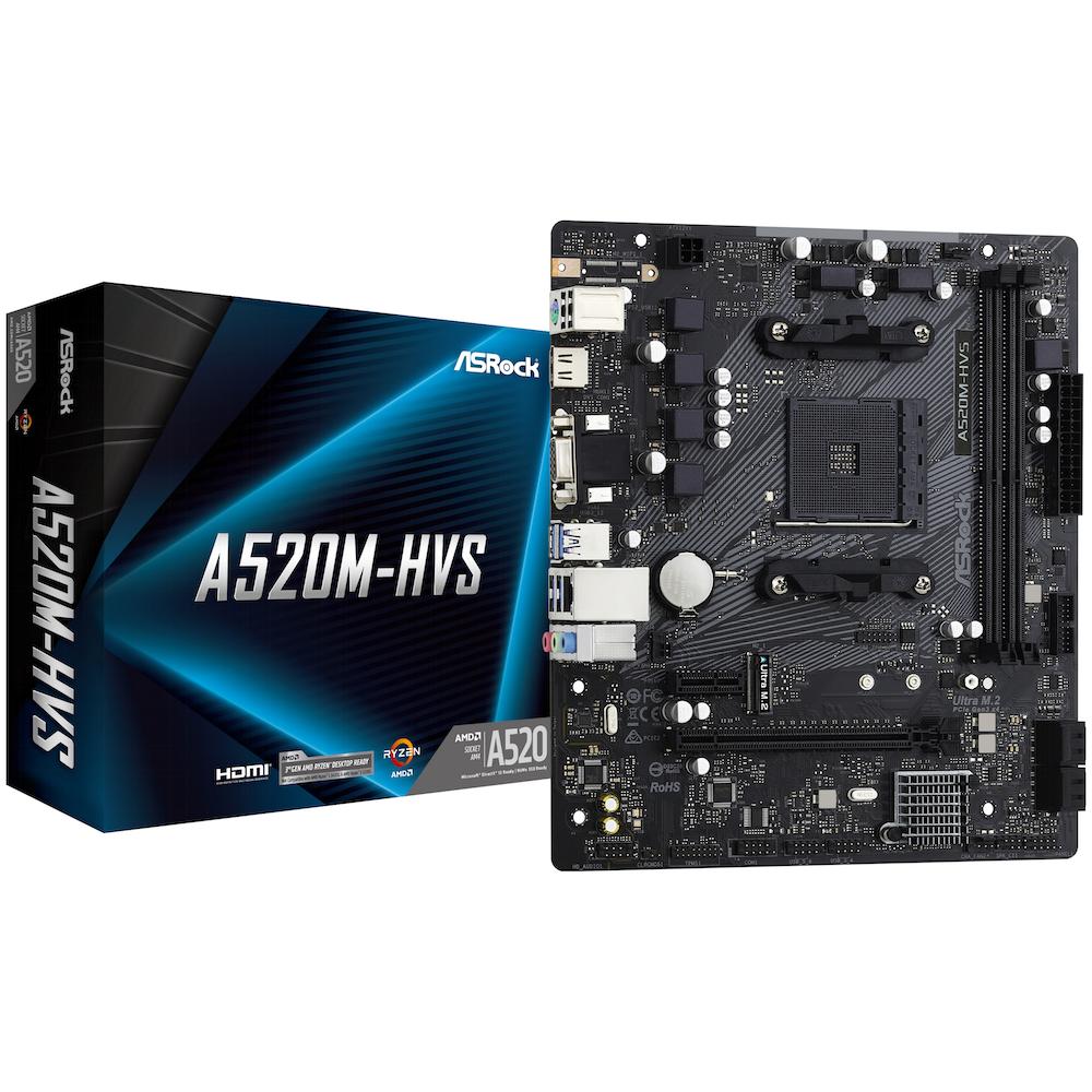 A large main feature product image of ASRock A520M HVS AM4 mATX Desktop Motherboard