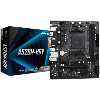 Product image of ASRock A520M HDV AM4 mATX Desktop Motherboard - Click for product page of ASRock A520M HDV AM4 mATX Desktop Motherboard