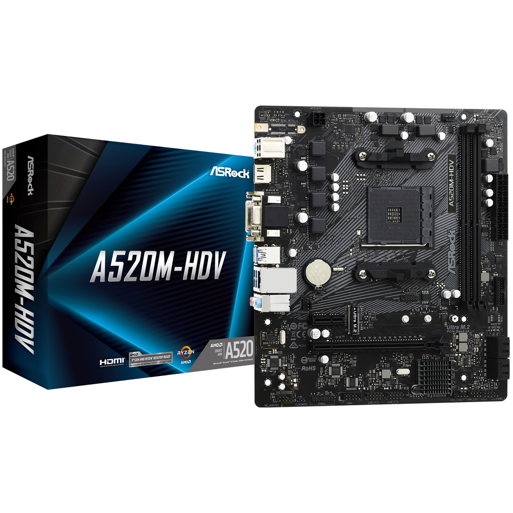 A large main feature product image of ASRock A520M HDV AM4 mATX Desktop Motherboard