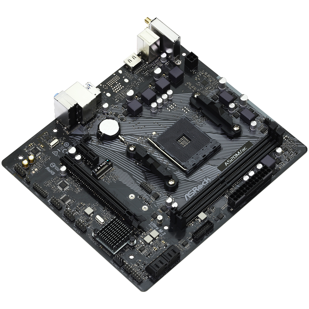 A large main feature product image of ASRock A520M AC AM4 mATX Desktop Motherboard