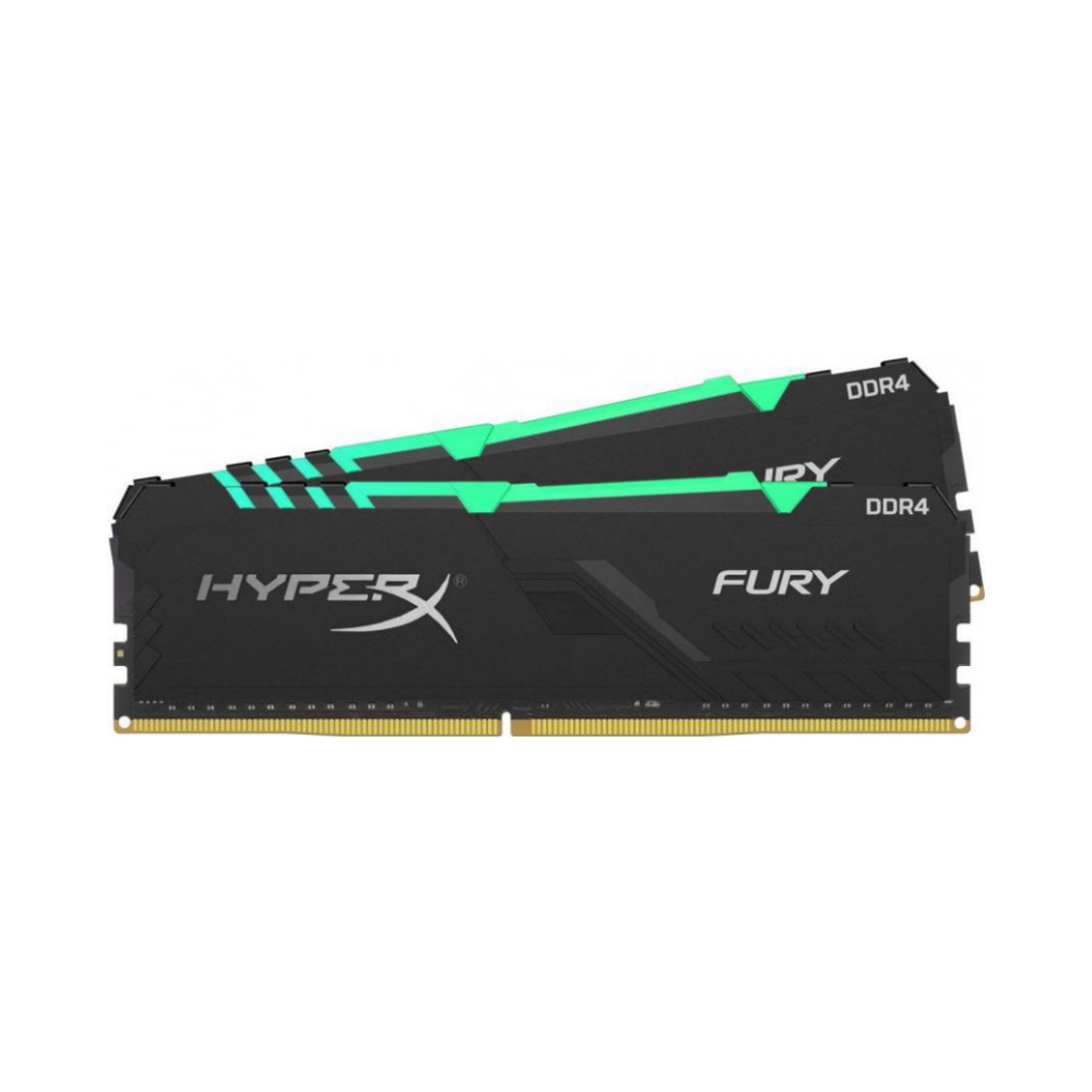 A large main feature product image of Kingston 32GB Kit (2x16GB) DDR4 HyperX Fury RGB C16 2666MHz