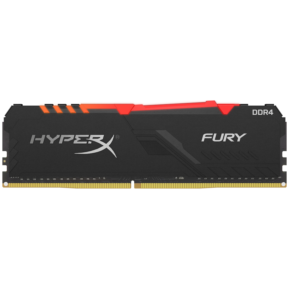 A large main feature product image of Kingston 16GB Kit (2x8GB) DDR4 HyperX Fury RGB C16 2666MHz