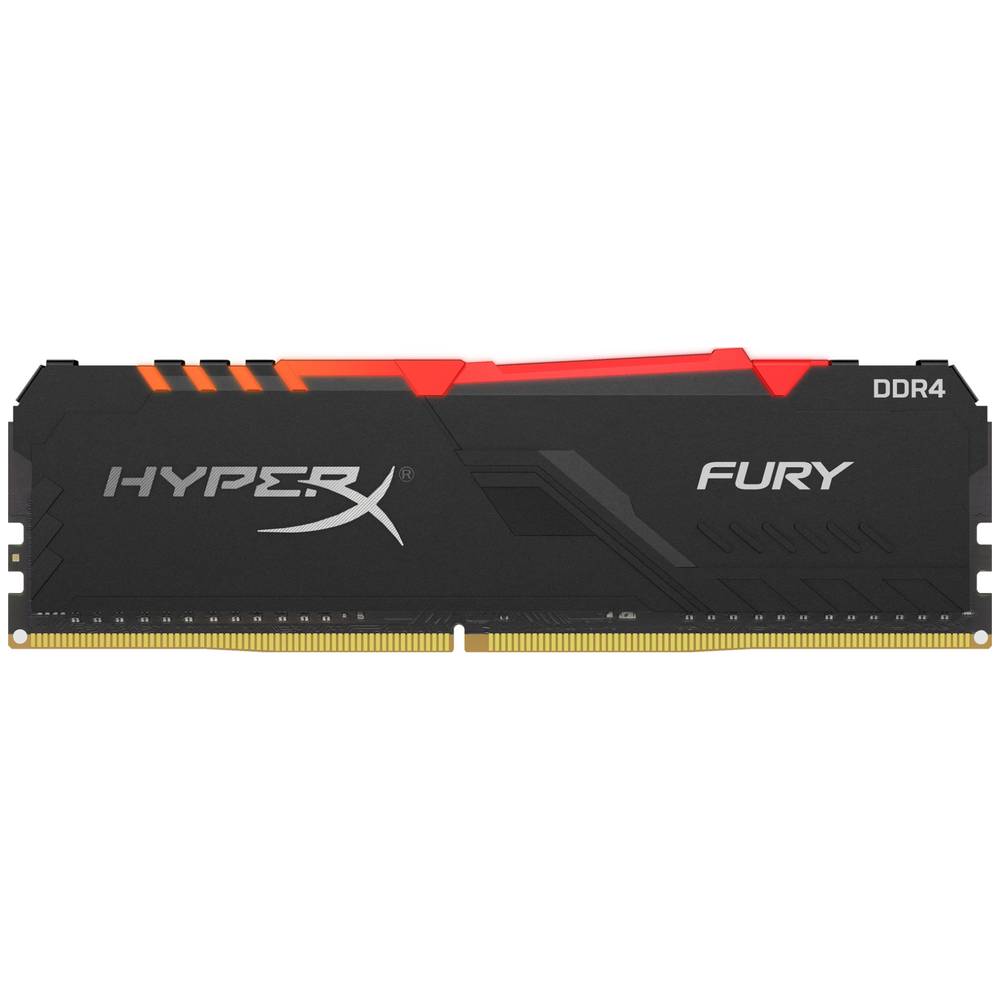 A large main feature product image of Kingston 16GB Kit (2x8GB) DDR4 HyperX Fury RGB C16 3200MHz