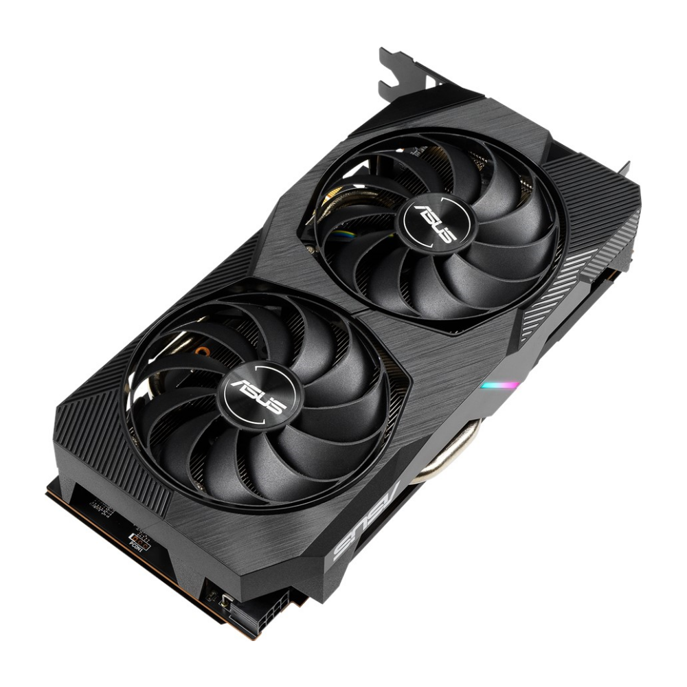 A large main feature product image of ASUS Radeon RX 5500 XT Dual EVO OC Edition 8GB GDDR6