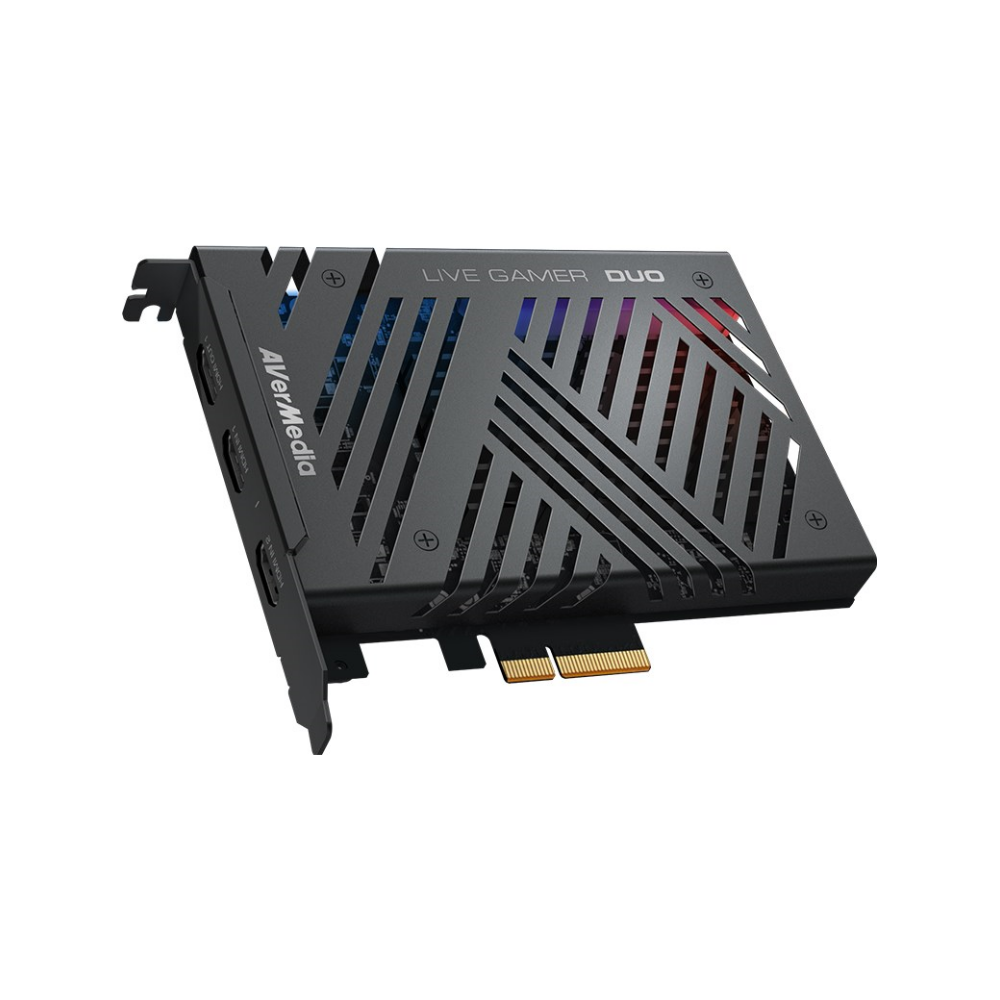 A large main feature product image of AVerMedia GC570D Live Gamer Duo HDR Capture Card