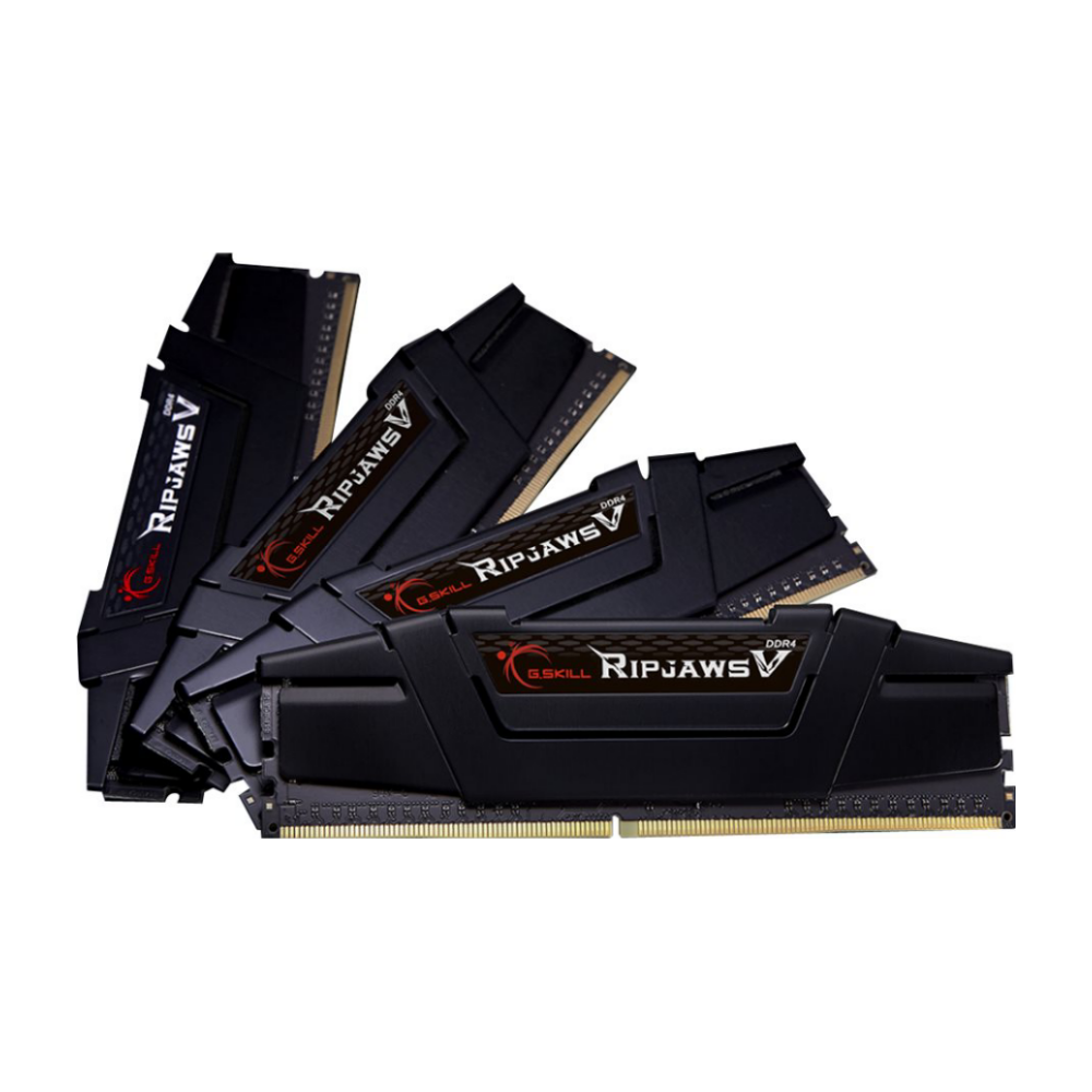 A large main feature product image of G.Skill 128GB Kit (4x32GB) DDR4 Ripjaws V C16 3200Mhz