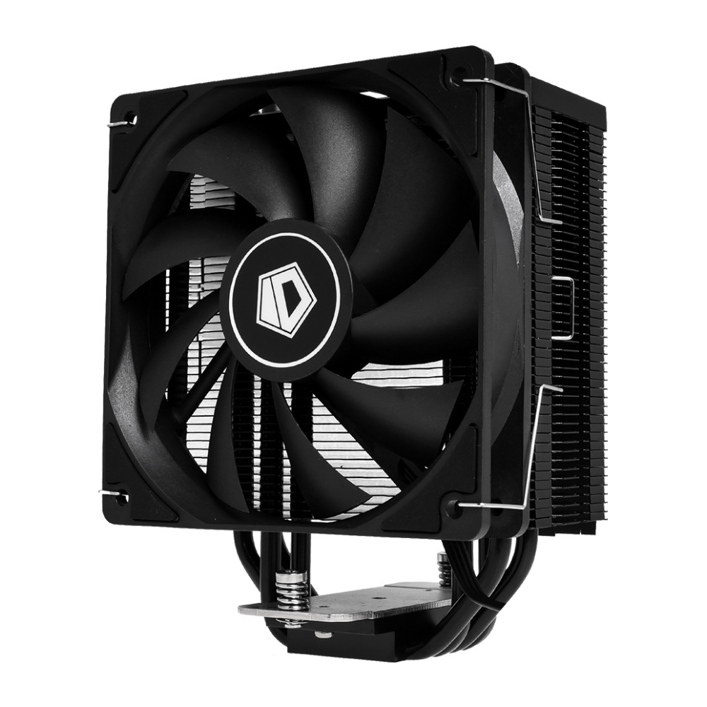 A large main feature product image of ID-COOLING Sweden Series SE-224-XT Black CPU Cooler