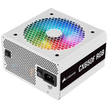 Product image of Corsair CX650F RGB White 650W 80PLUS Bronze Modular RGB Power Supply - Click for product page of Corsair CX650F RGB White 650W 80PLUS Bronze Modular RGB Power Supply