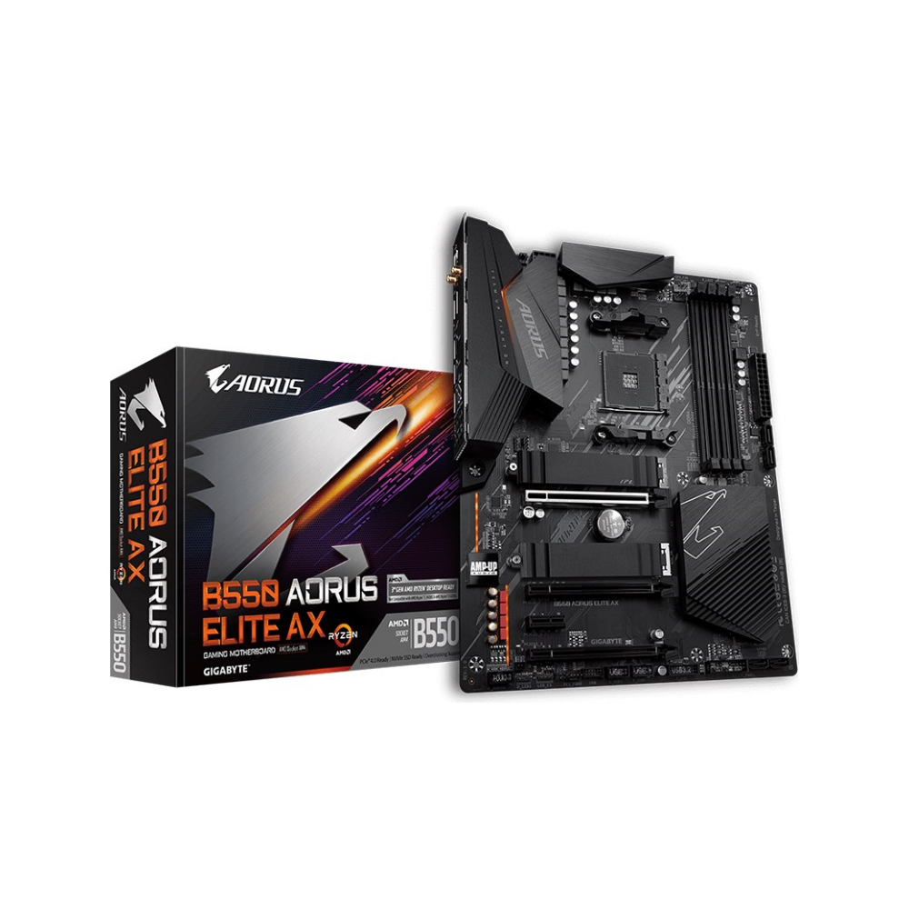 A large main feature product image of Gigabyte B550 Aorus Elite AX AM4 ATX Desktop Motherboard