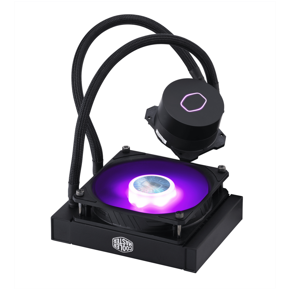 A large main feature product image of Cooler Master MasterLiquid ML120L RGB AIO Liquid Cooler V2
