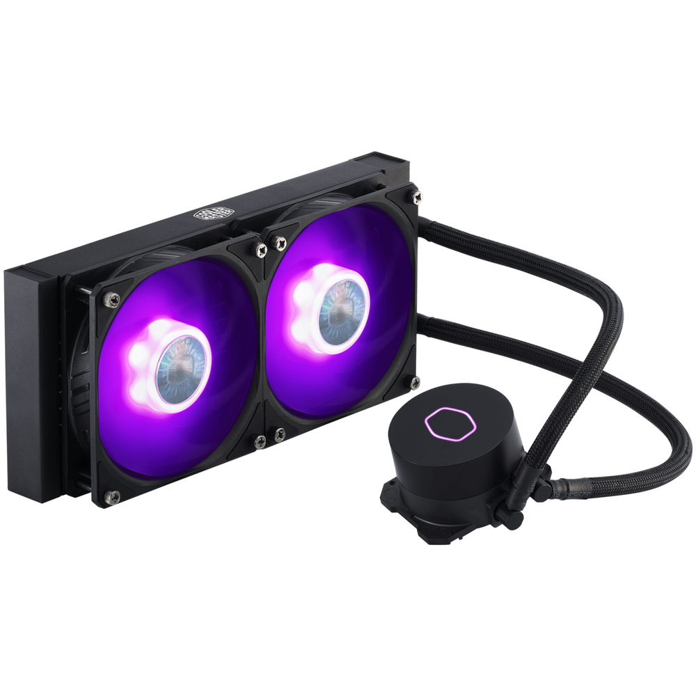 A large main feature product image of Cooler Master MasterLiquid ML240L RGB AIO Liquid Cooler V2