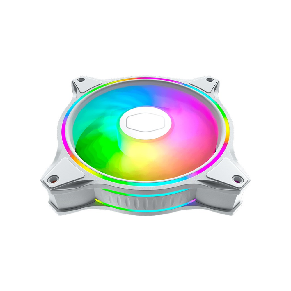 A large main feature product image of Cooler Master MasterFan MF120 Halo RGB 120mm Fan White Edition