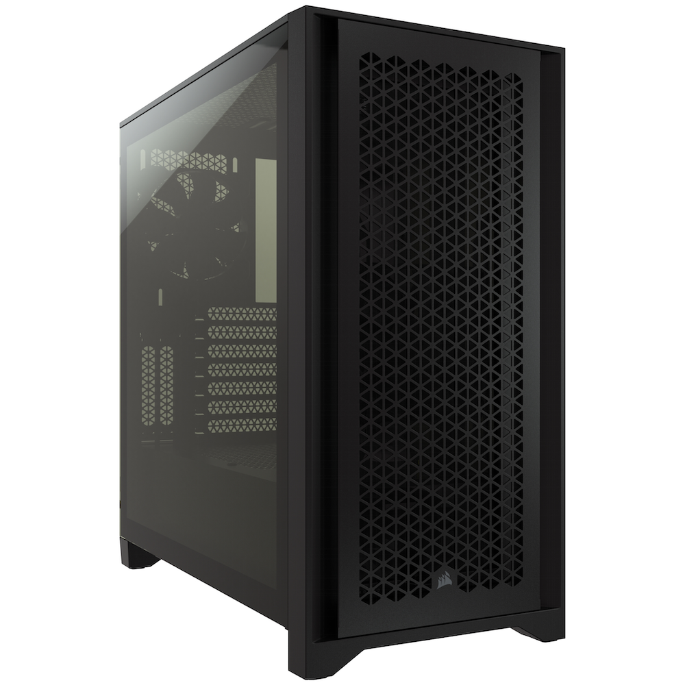 A large main feature product image of Corsair 4000D Airflow Black Case w/ Tempered Glass Side Panel
