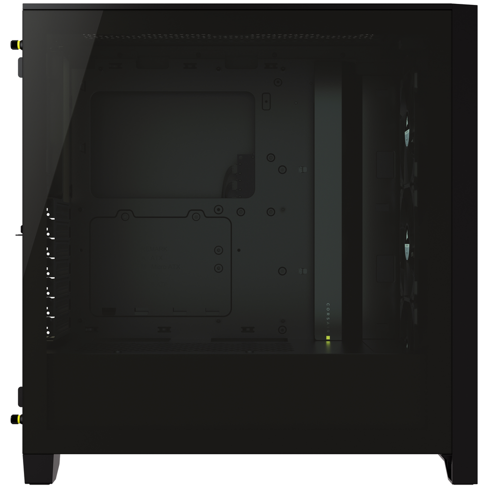 A large main feature product image of Corsair iCue 4000X RGB Black Case w/ Tempered Glass Side Panel