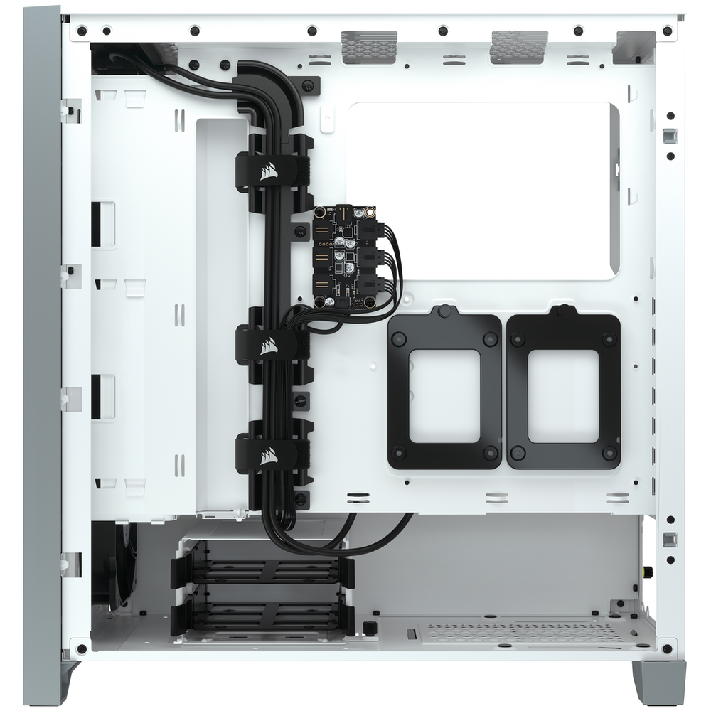 A large main feature product image of Corsair iCue 4000X RGB White Case w/ Tempered Glass Side Panel