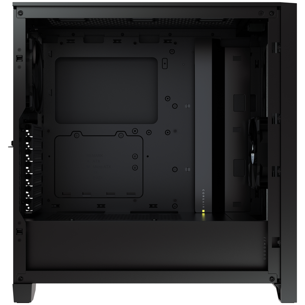 A large main feature product image of Corsair 4000D Black Case w/ Tempered Glass Side Planel