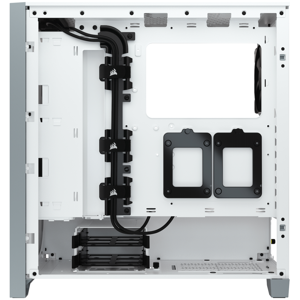 A large main feature product image of Corsair 4000D White Case w/ Tempered Glass Side Planel