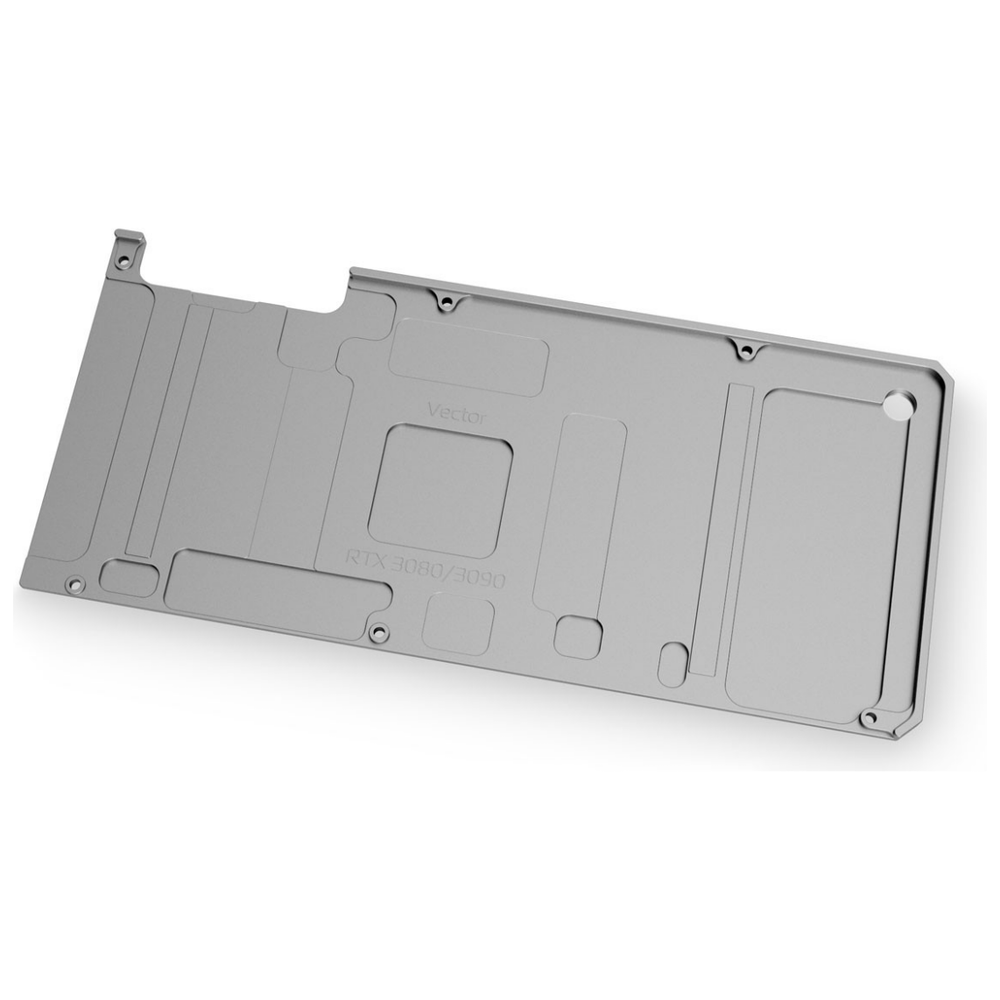 A large main feature product image of EK Quantum Vector RTX 3080/3090 Backplate - Nickel