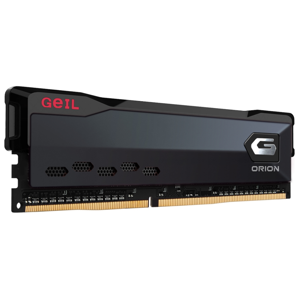 A large main feature product image of GeIL 16GB Kit (2x8GB) DDR4 Orion Charcoal Grey AMD Edition C16 3200MHz