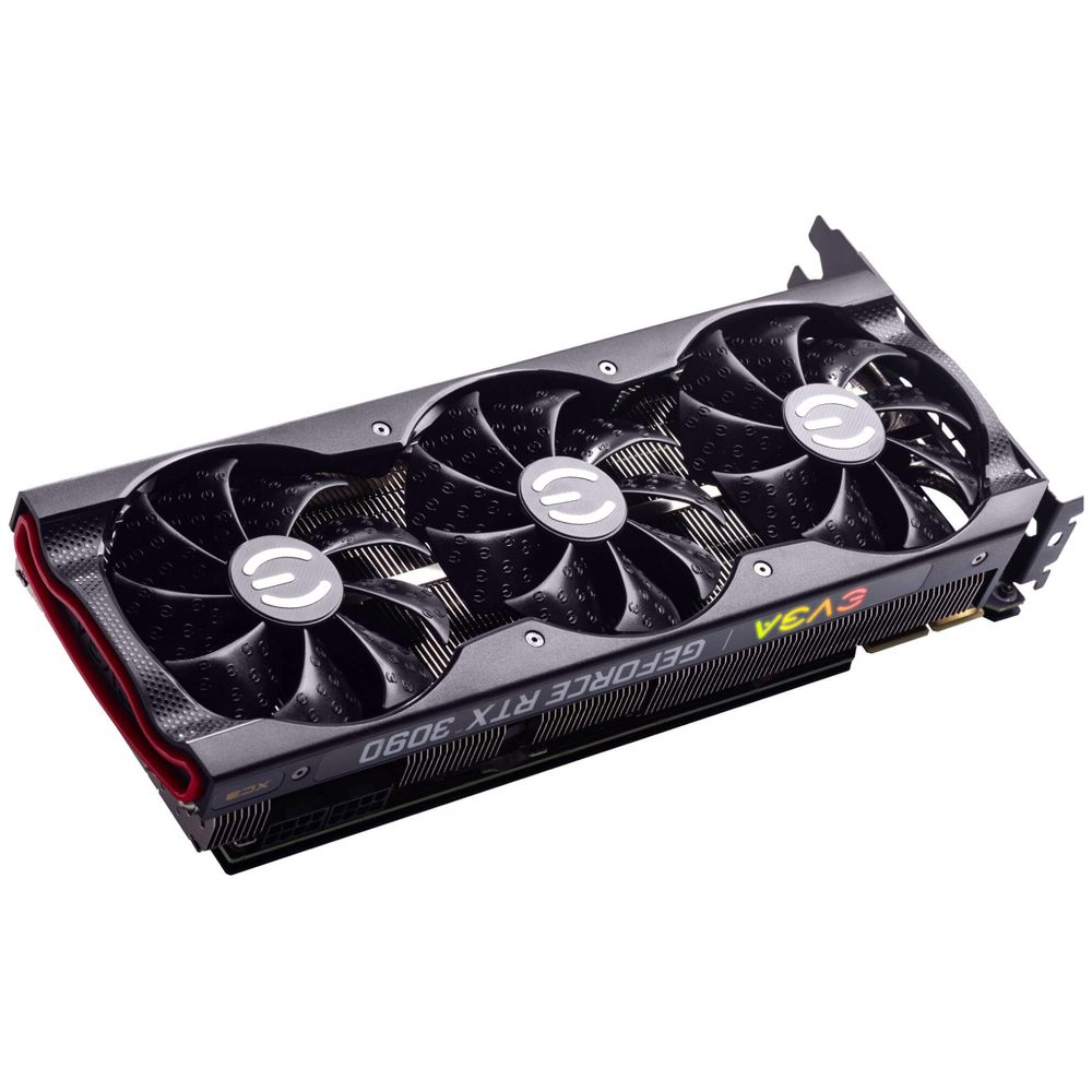 A large main feature product image of eVGA GeForce RTX 3090 XC3 24GB GDDR6X