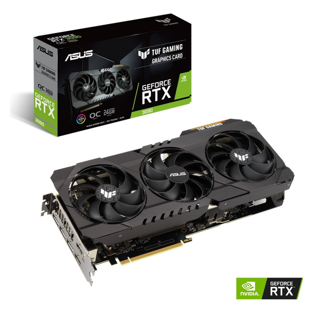 A large main feature product image of ASUS GeForce RTX 3090 TUF Gaming OC 24GB GDDR6X