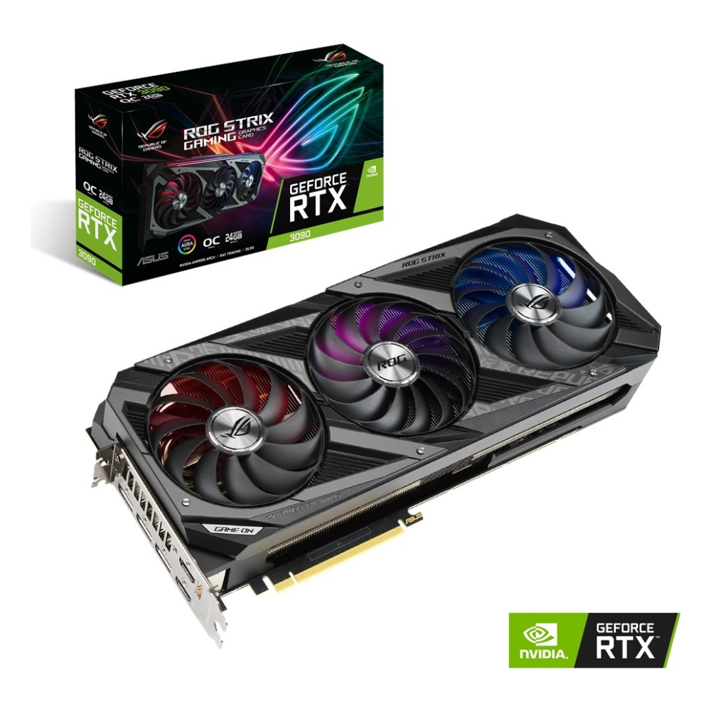 A large main feature product image of ASUS GeForce RTX 3090 ROG Strix Gaming OC 24GB GDDR6X