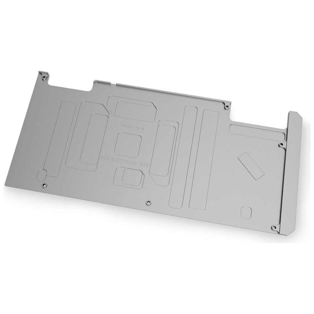 A large main feature product image of EK Quantum Vector Strix RTX 3070/3080/3090 Backplate - Nickel