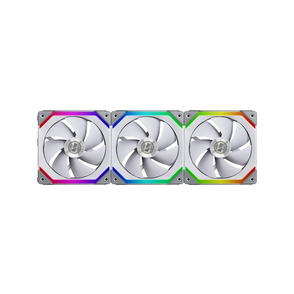 A large main feature product image of Lian-Li UNI Fan 120mm Cooling Fan White - Triple Pack