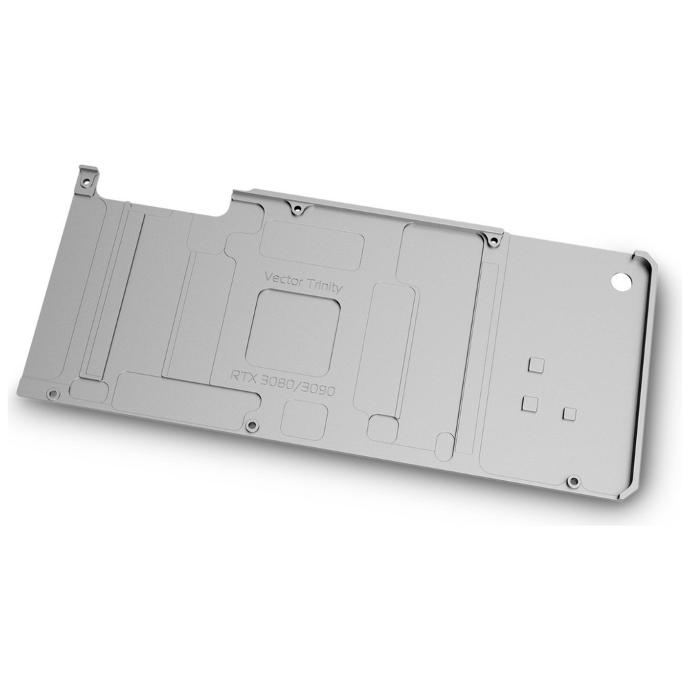 A large main feature product image of EK Quantum Vector Trinity RTX 3080/3090 Backplate - Nickel