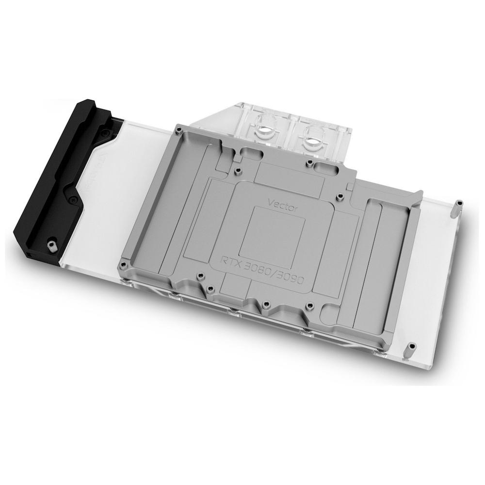 A large main feature product image of EK Quantum Vector Trinity RTX 3080/3090 D-RGB - Nickel + Plexi