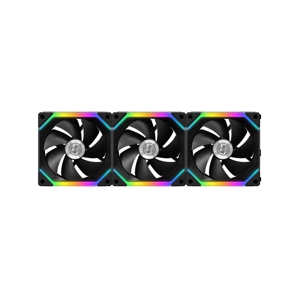 A large main feature product image of Lian-Li UNI Fan 120mm Cooling Fan Black - Triple Pack