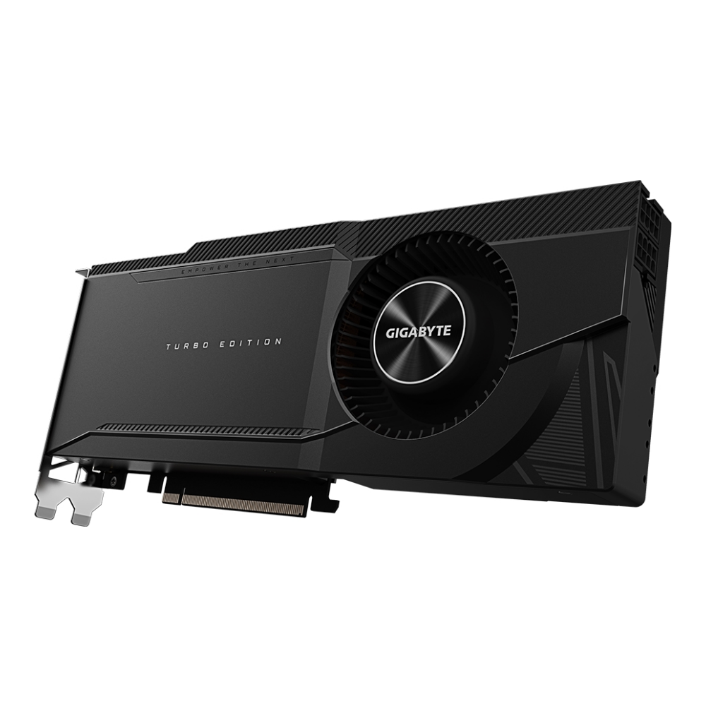 A large main feature product image of Gigabyte GeForce RTX 3090 Turbo 24GB GDDR6X