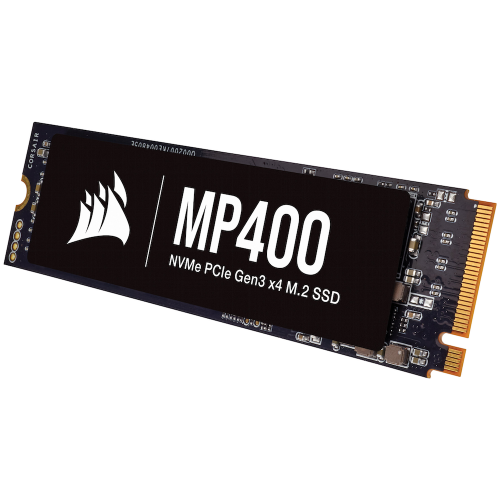 A large main feature product image of Corsair MP400 2TB NVMe PCIe M.2 SSD QLC