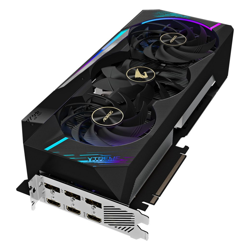 A large main feature product image of Gigabyte GeForce RTX 3080 Aorus Extreme 10GB GDDR6X