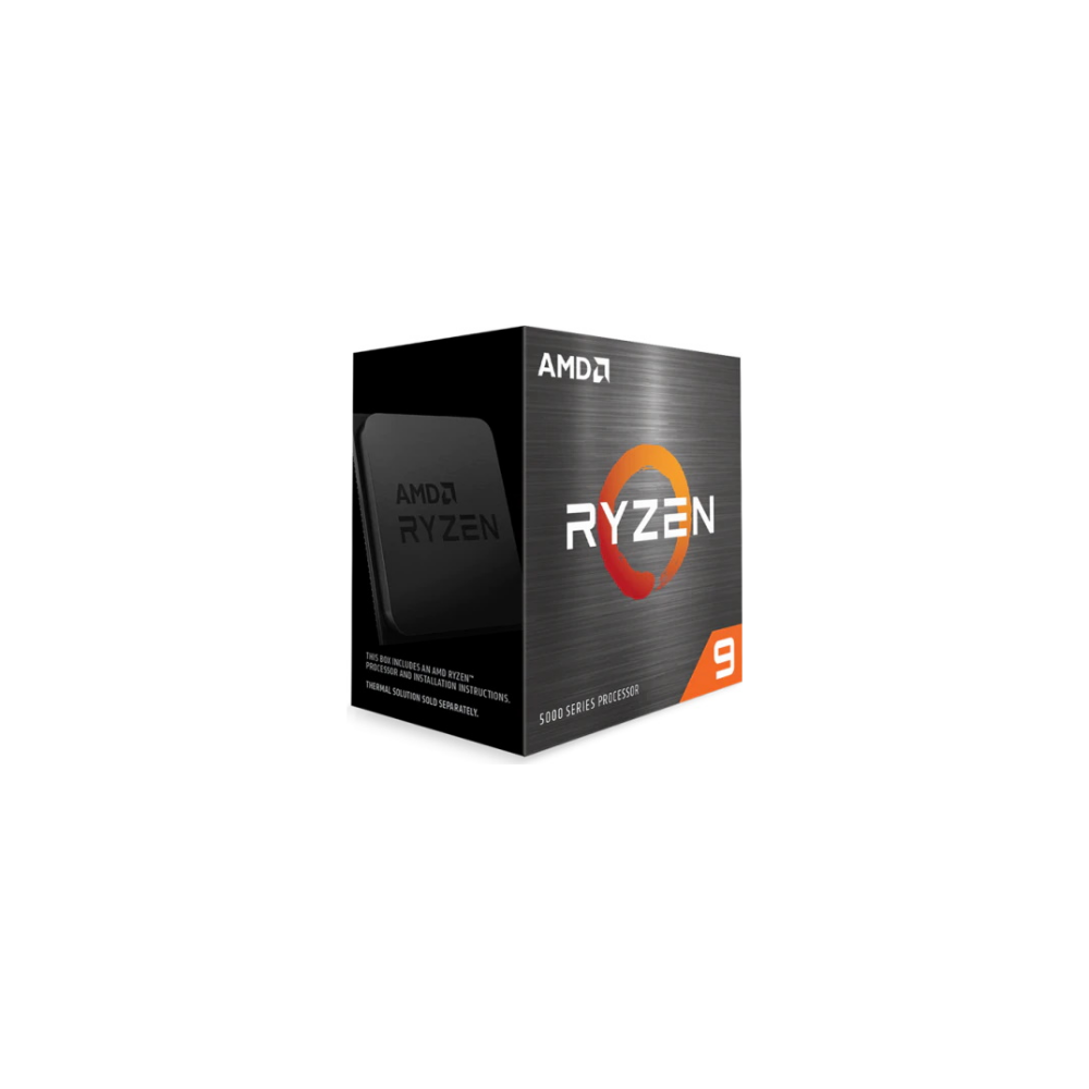 A large main feature product image of AMD Ryzen 9 5950X 3.4Ghz 16 Core 32 Thread AM4 - No HSF Retail Box