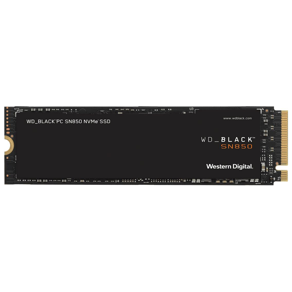 A large main feature product image of WD Black SN850 2TB NVMe M.2 SSD