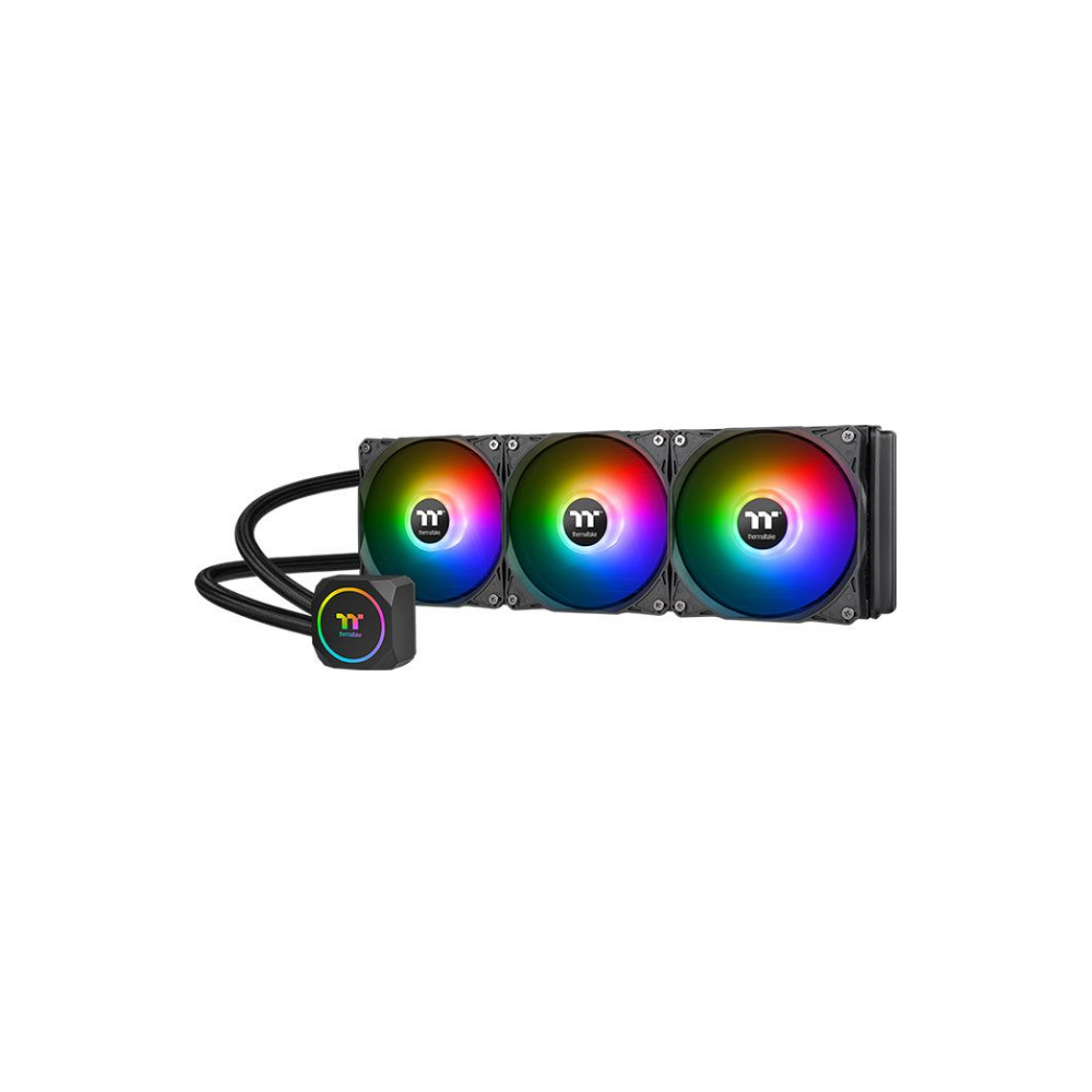 A large main feature product image of Thermaltake TH360 ARGB AIO Liquid CPU Cooler