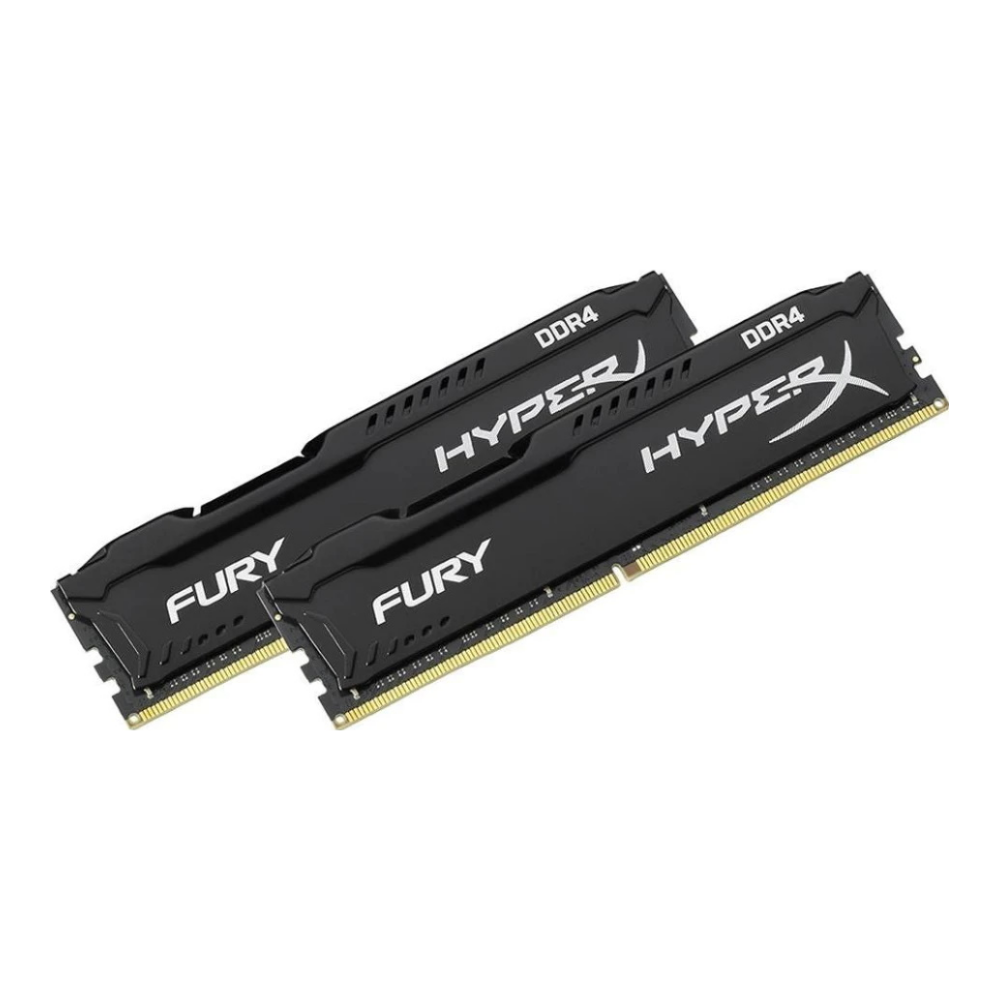 A large main feature product image of Kingston 32GB Kit (2x16GB) DDR4 HyperX Fury Black C16 3200MHz