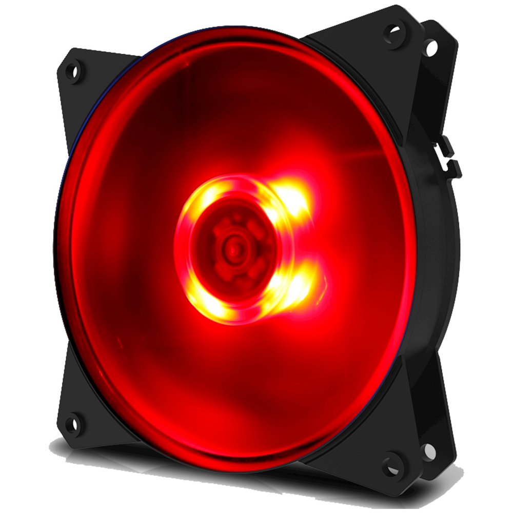 A large main feature product image of Cooler Master MasterFan Lite MF120L 120mm Red LED Fan