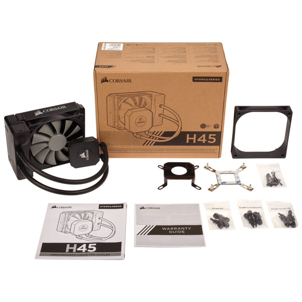 A large main feature product image of Corsair Hydro Series H45 AIO Liquid CPU Cooler